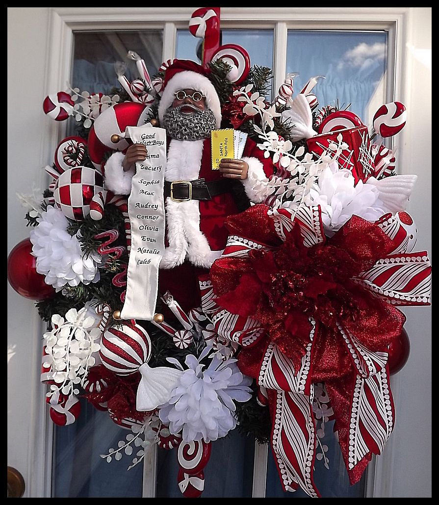 Mr claus luxury christmas wreath for front door for African christmas decoration