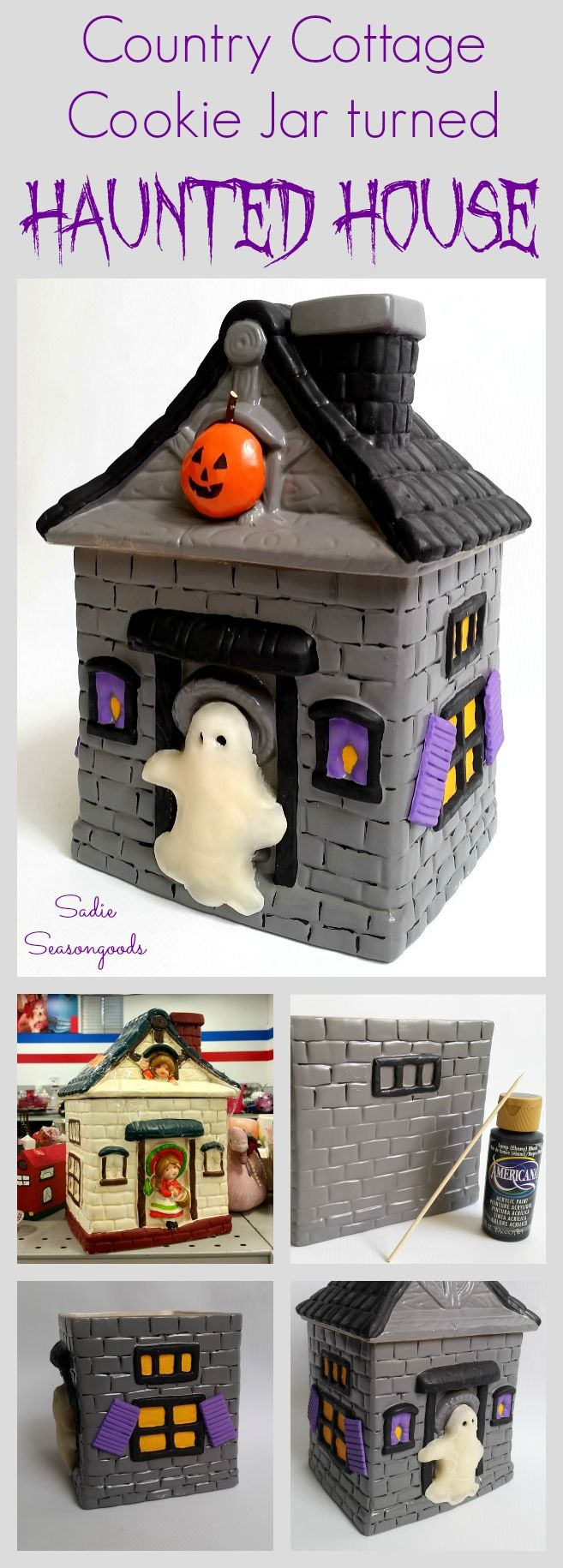 Halloween Cookie Jar and Haunted House from a Vintage