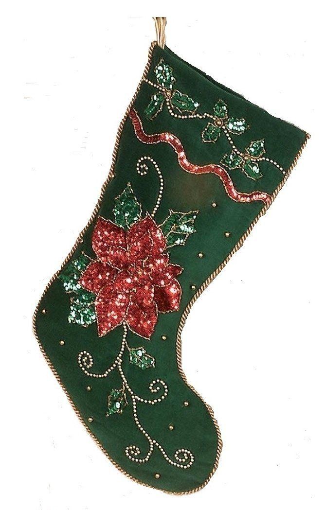 Beautiful Green Sequined Christmas Stocking \u003e\u003e\u003e Hurry! Check out