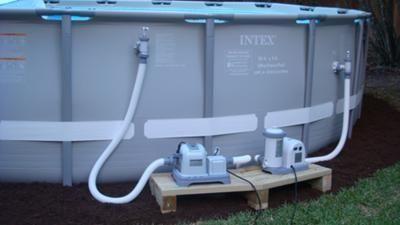 Keeping Pumps Off The Ground Intex Pool With Salt Water System Intex Pool Backyard Pool Landscaping Saltwater Pool