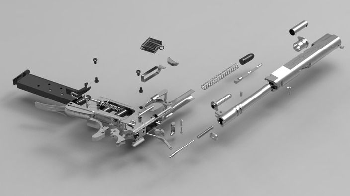 Colt 1911-A1 Model Goverment Pistol - AutoCAD, NX, Pro/Engineer