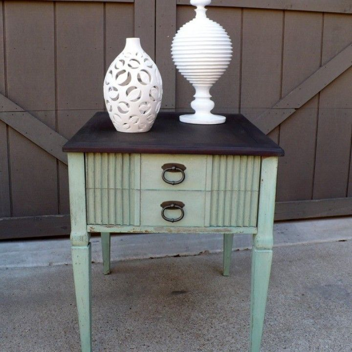 SOLD - End Table, Vintage, Fluted Drawer Front, New Turquoise Paint from Julies Box for $75 on Square Market