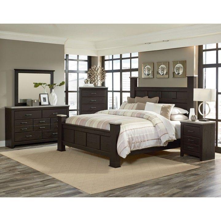 Standard Furniture Stonehill 4-Piece Poster Bedroom Set in Dark Brown - Bedroom Sets