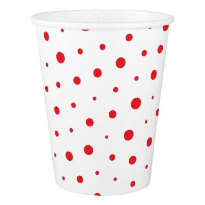 Elegant Modern Polka Dots -Red- Customize BG Paper Cup - dot paper template
