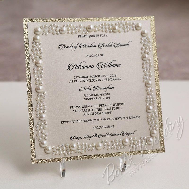 Pearls of Wisdom Bridal Shower Invitation Card | Invitations ...