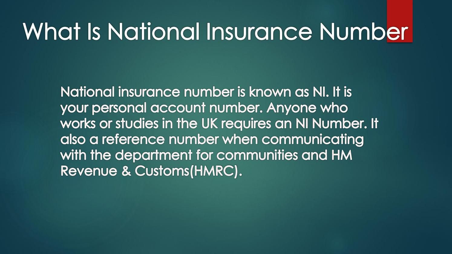 What Is National Insurance Number Ni National Insurance Number