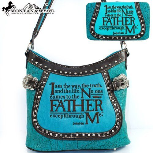 $53.99Amazon.com: Montana West Western Cow Girl Bible Verses Embroidered Rhinestone Studded Buckle Handbag Western Shoulder Purse with Wallet in Turquoise Blue: Clothing