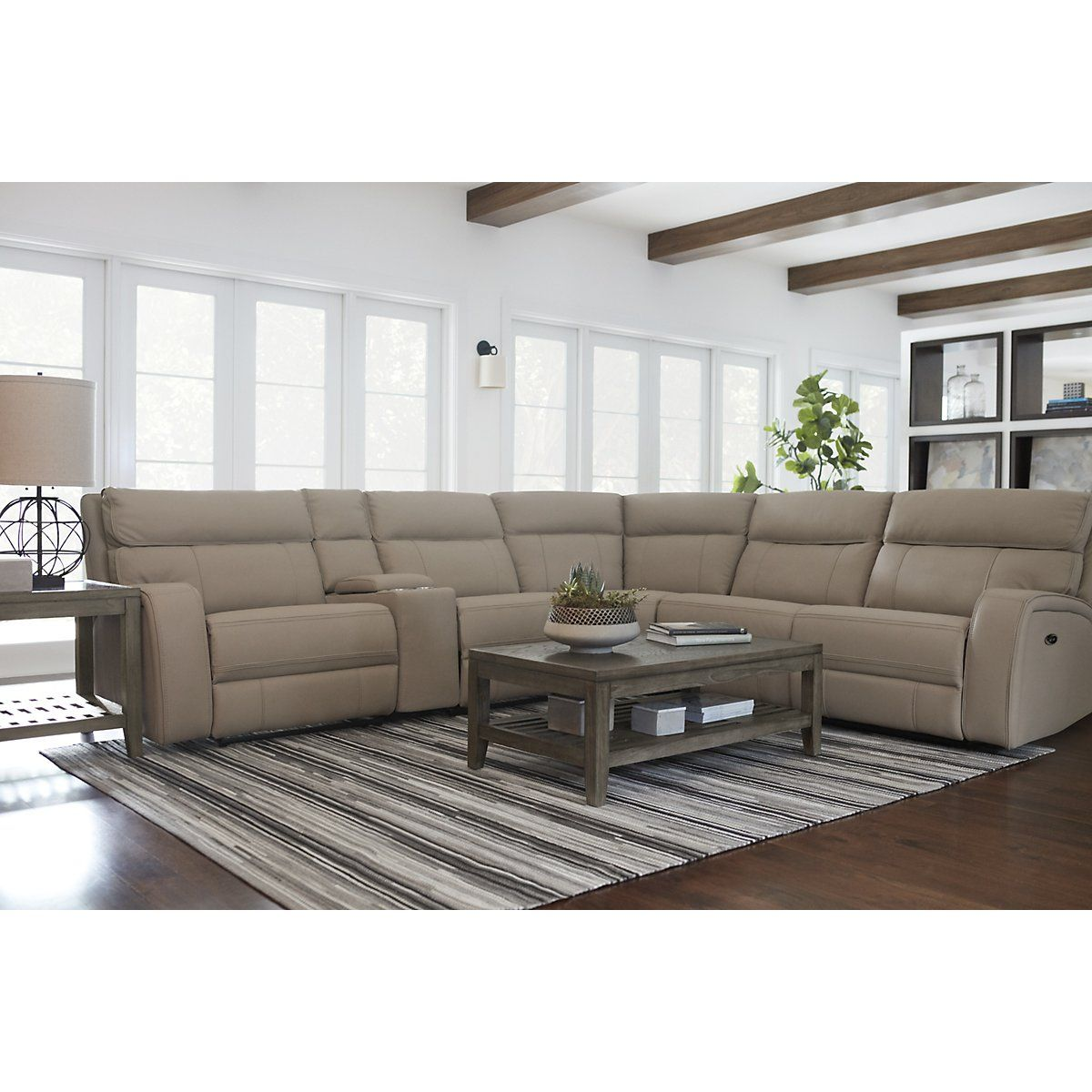 Rhett Taupe Micro Small Two Arm Power Reclining Sectional Living Room Reclining Sectionals City Reclining Sectional Living Room Sectional Power Recliners #two #recliners #in #living #room