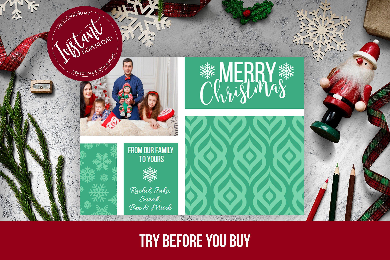 Family Photo Christmas Card Editable Template Printable Etsy Family Christmas Card Photos Christmas Photo Cards Family Christmas Cards