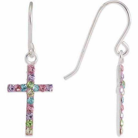 e20b31241 Sterling Silver Multi-Colored Crystal Cross Drop Earrings | Products ...