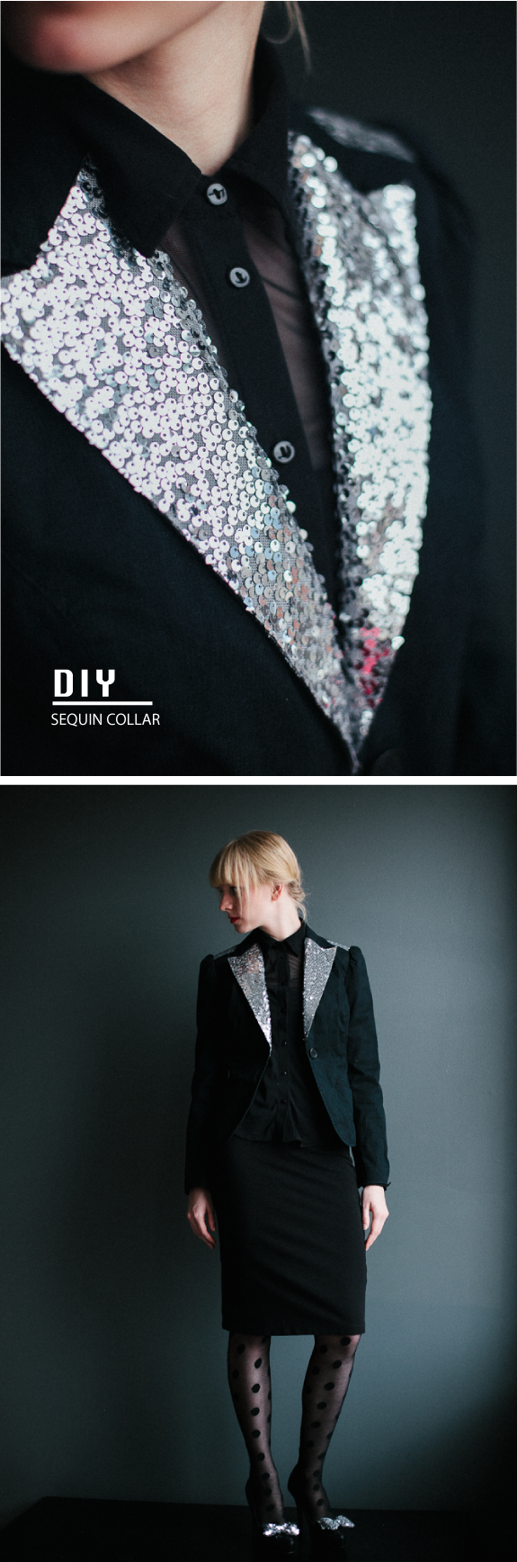 DIY: sequin jacket collar