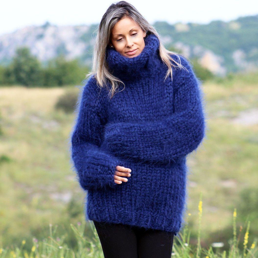 Strands Hand Knit Mohair Sweater Navy Blue Turtleneck