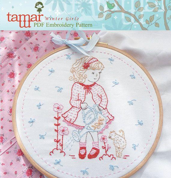 Embroidery Pattern, Needlecraft Design, Instant Download - Girl ...