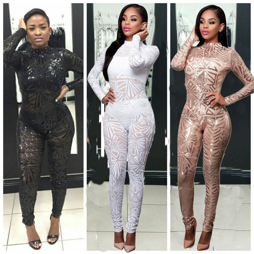 6939fac5812c Aliexpress.com   Buy High End Custom Women Sequin Jumpsuit Mesh See Through  Black Long sleeve Stretch Turtleneck Party Night Club Bodycon Rompers from  ...