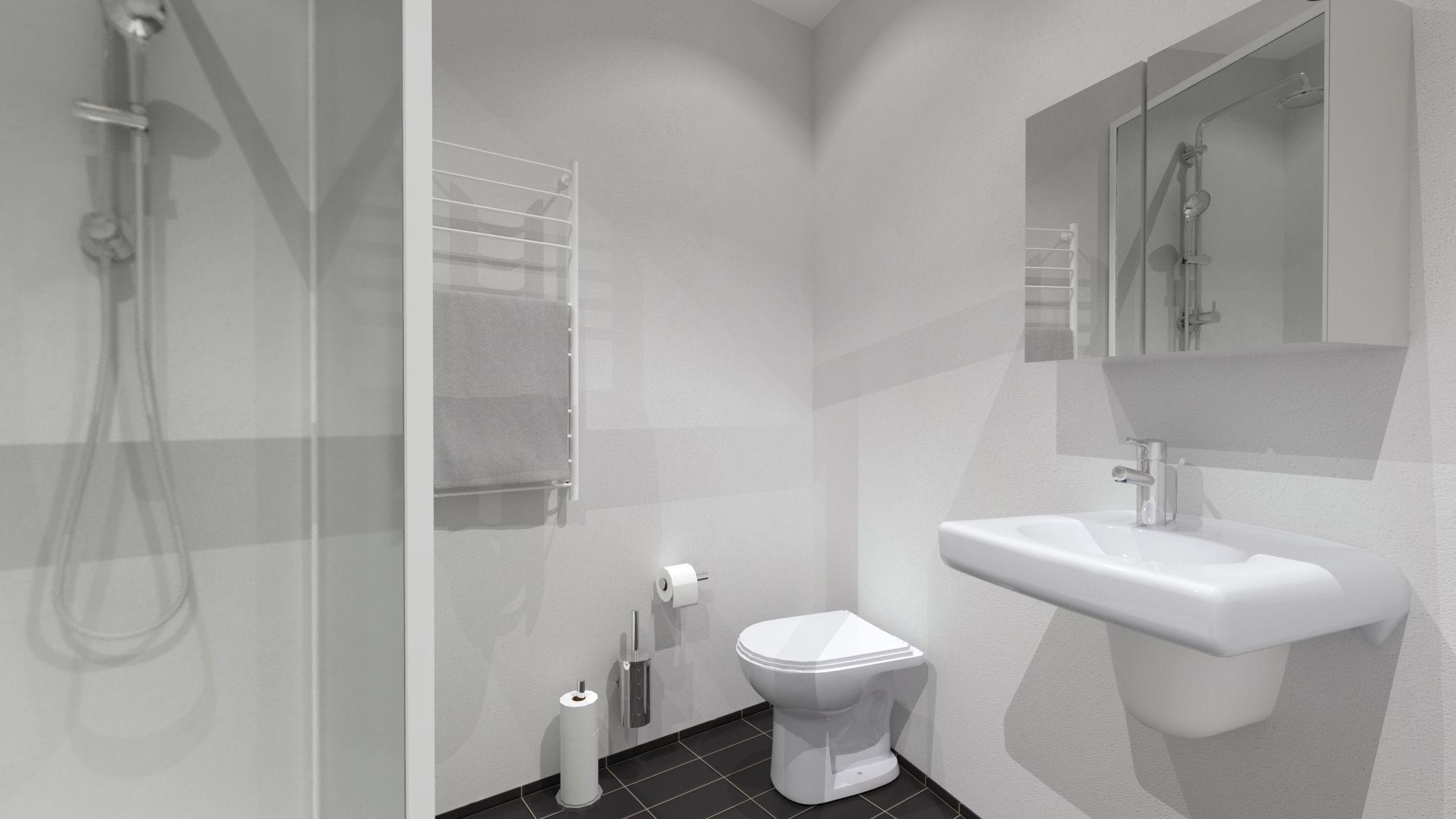 Moderne Witte Badkamer : Moderne badkamer wit met parkettegels sleurs vangompel