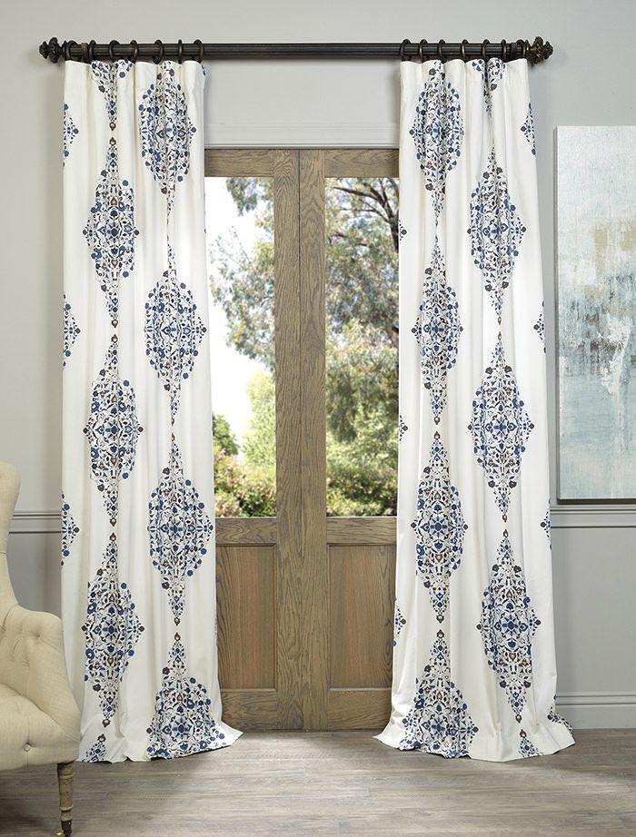 Kerala Blue Printed Cotton Twill Curtain Curtains Panel