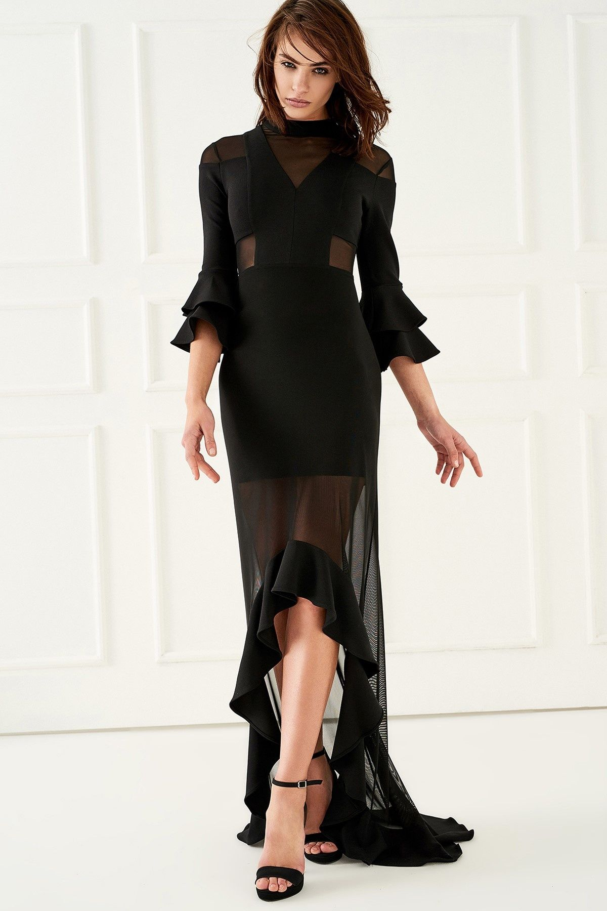 Siyah Volanli Elbise Trendyolmilla Trendyol Kadin The Dress Peplum Elbise