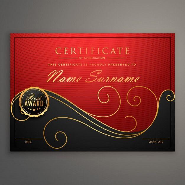 modelo de design vermelho e preto certificado de luxo - certificate designs free