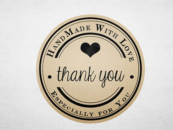 Thank you stickers printable kraft stickers business branding handmade with love circle