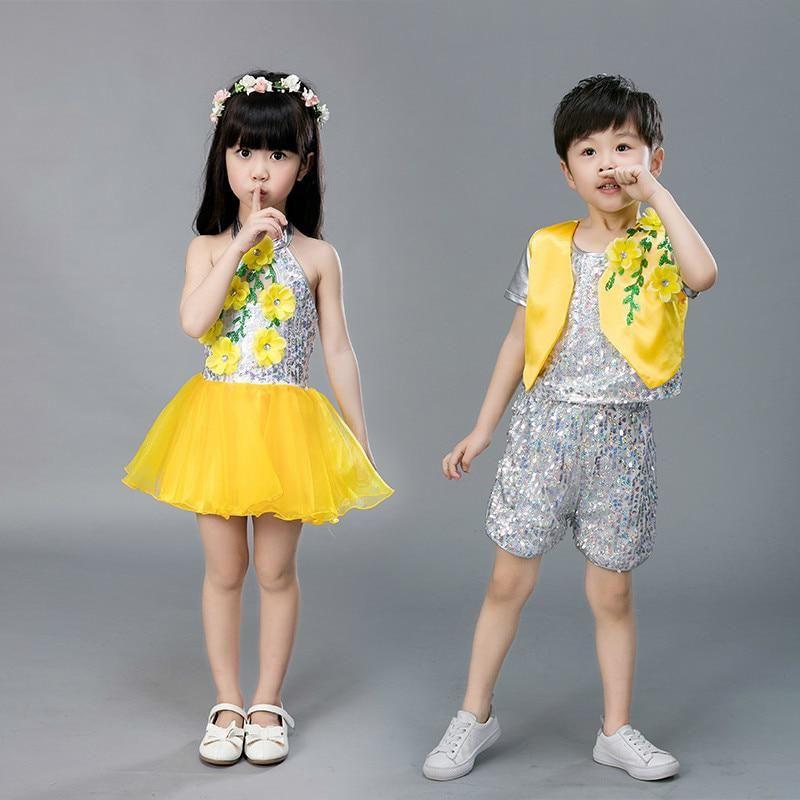 f612014b8beb Modern Sequins dance costume boy dance dress for girls stage ...
