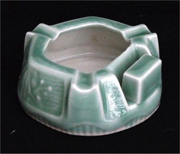 P062 Antique Japanese Celadon Porcelain Ashtray Matchbox Holder ...