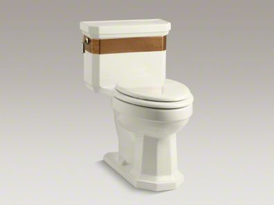 Elegant in its simplicity, Saree displays a striking gold band inspired by late 19th-century decorative art. The graceful design wraps around a one-piece Kathryn toilet, which features a comfortable chair-like height and powerful 1.6-gpf flush performance. A concealed trapway simplifies cleaning and adds to the simple aesthetic, while the elongated bowl ensures comfortable use.