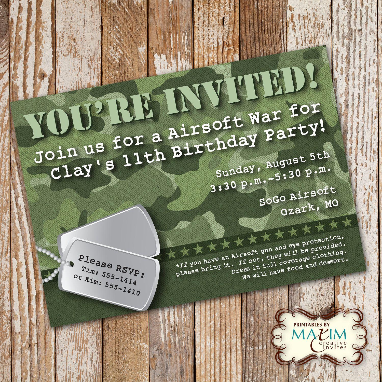 Camo Birthday Invitation, DIY Printable Invitation, Army Birthday