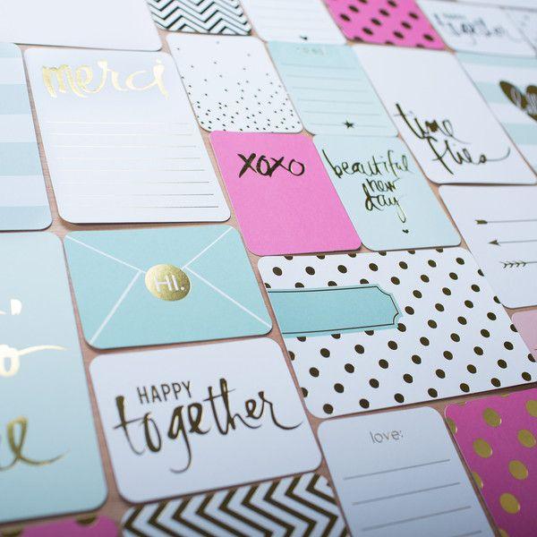 Detalhes em dourado dos cartões de Project Life da Heidi Swapp