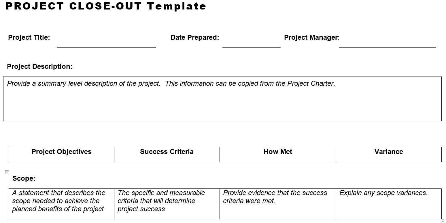 Project CloseOut Template  HttpWwwPlanningengineerNet