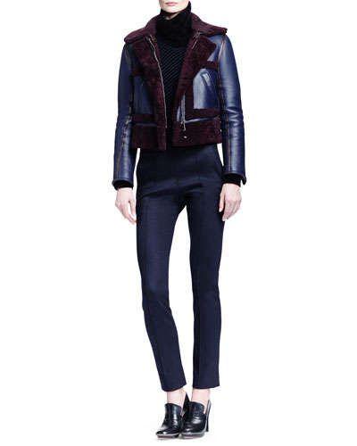 Chloe Iconic Shearling Aviator Jacket, Bicolor Ribbed T-Neck Sweater & Punto Milano Jersey Leg Fall 2015
