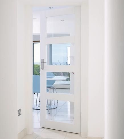 Internal moulded door white primed 4 panel google search playa house pinterest doors - White glass panel internal doors ...