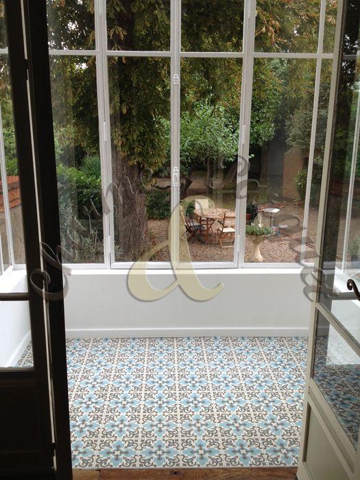 sol de veranda en carreaux de ciment charme parquet chez nous pinterest carrelage de. Black Bedroom Furniture Sets. Home Design Ideas