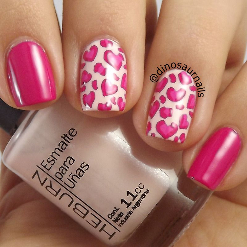 Heart Leopard Animal Print by Vanesa. Pink nails. Nail art. Nail ...