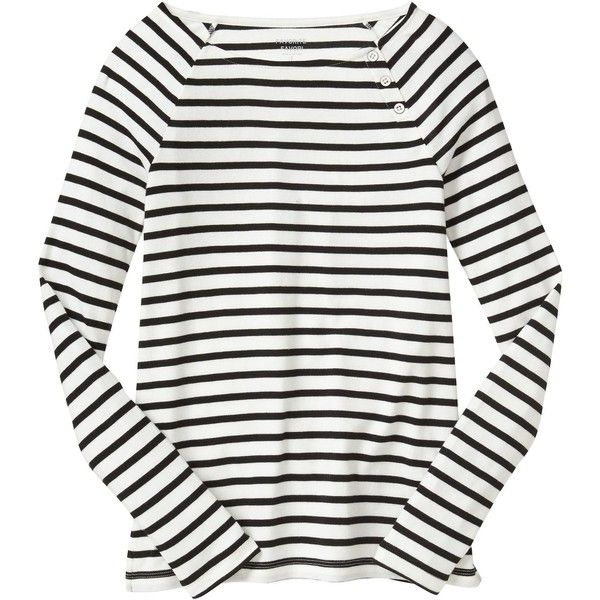 Gap Women Favorite Stripe Button Boatneck Tee (¥2,275) ❤ liked on Polyvore featuring tops, t-shirts, raglan long sleeve t shirt, white tee, slim t shirts, long length t shirts and boat neck t shirt