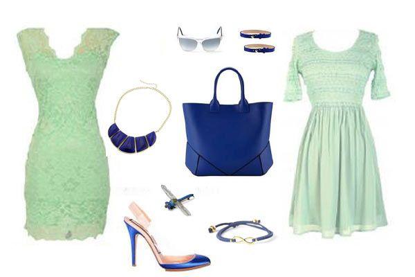 Zapatos para vestido azul verde