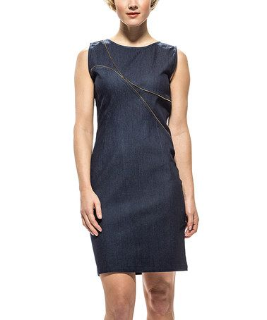 Look at this #zulilyfind! Denim Zipper Detail Sleeveless Dress #zulilyfinds