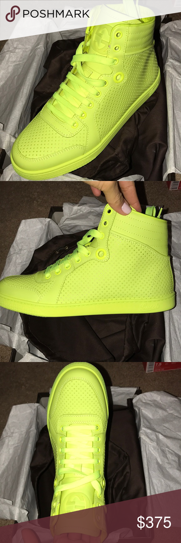ab53ddd88 Gucci neon matte high top sneakers Gucci neon yellow/green sneakers in a  matte finish Perforated leather Brand new in box Never worn Color : fluo  matt Gucci ...