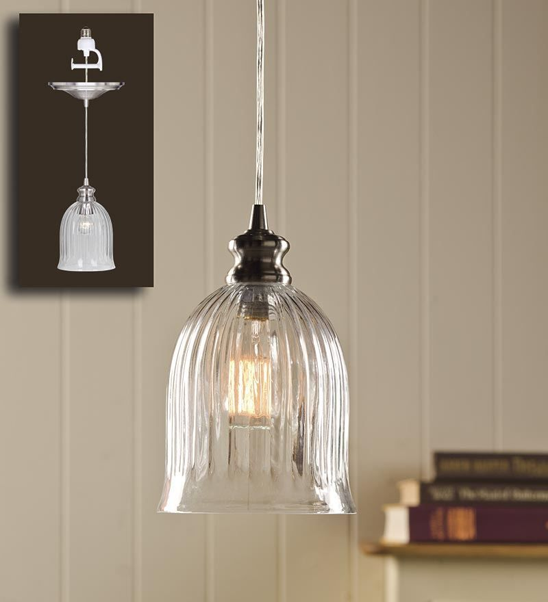 Screw-In Bell Shaped Ribbed Glass Pendant Light Replaces