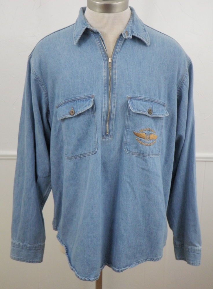 HARLEY DAVIDSON Mens Denim Jean Shirt Half Zip Pullover XL Long ...