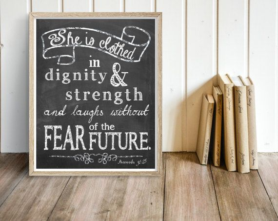 PRINTABLE Bible Verse She is Clothed in strength by glorydesigns