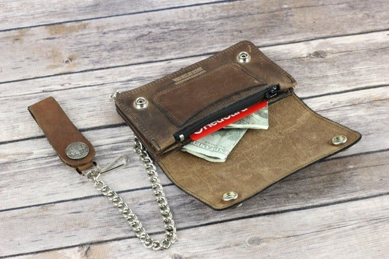 Buffalo nickel brown leather chain wallet, men's bi-fold wallet, biker wallet, made in the USA, biker gift, gift for him, Made in the USA