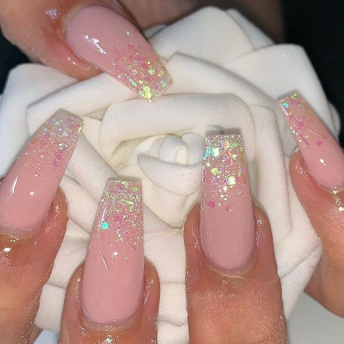 Pink Nails Ombre Nails Glitter Pink Glitter Nails Pink Ombre Nails