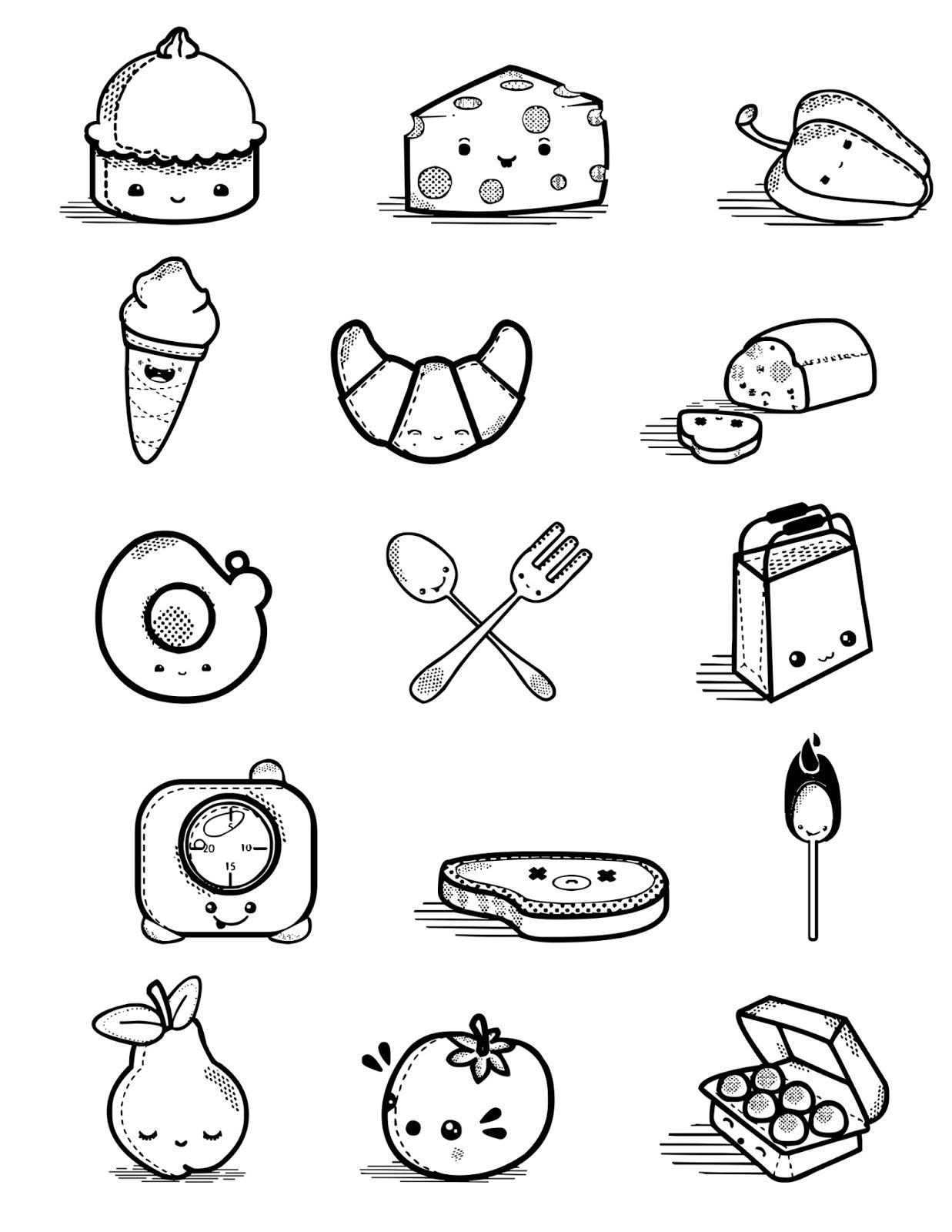 Ilustraciones Dibujos Comida Kawaii Desenhos Fofos