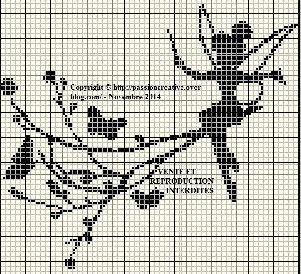 Grille gratuite point de croix : Fée Clochette et papillons monochrome | Silhouette point de ...