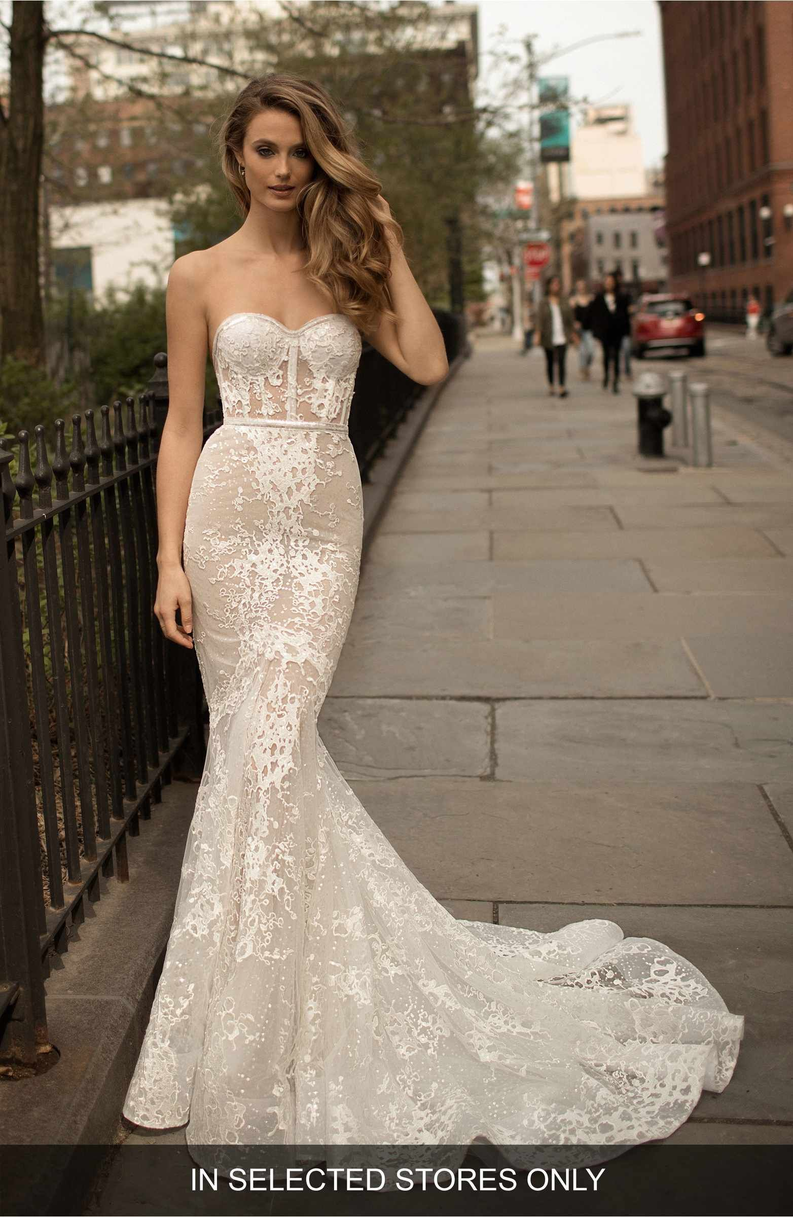 Main Image - Berta Strapless Lace Trumpet Gown | Wedding Ideas ...