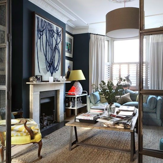 Step Inside A Period Style London Home Injected With Splashes Of Colour Navy Living Rooms