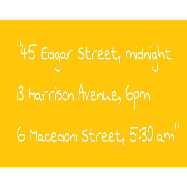"""""""45 Edgar Street, Midnight. 13 Harrison Avenue, 6pm. 6 Macedoni Street, 5:30 am.""""   What does this mean? And sent it to me? And why on a playing card?"""