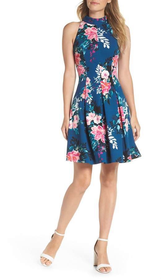 8a04f11be162 Vince Camuto Textured Floral Scuba Crepe Fit and Flare Dress (Regular and  Petite)