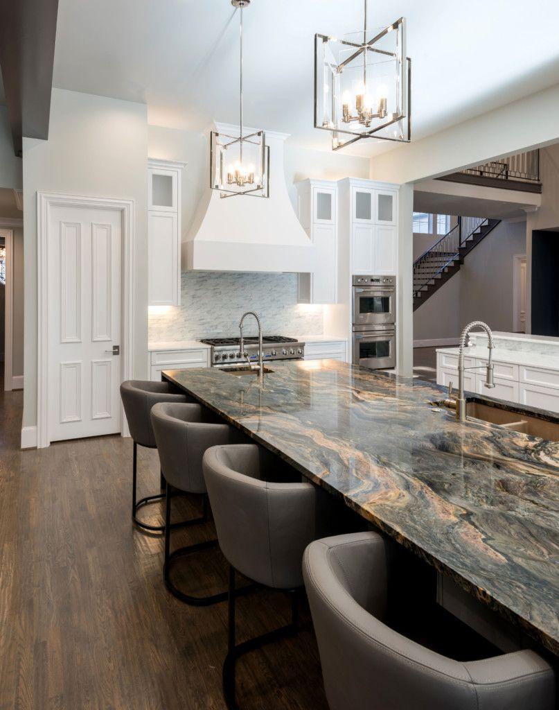 Blue Fusion Quartzite Kitchen Island Aria Stone Gallery Kitchen Remodel Countertops Replacing Kitchen Countertops Modern Kitchen Interiors
