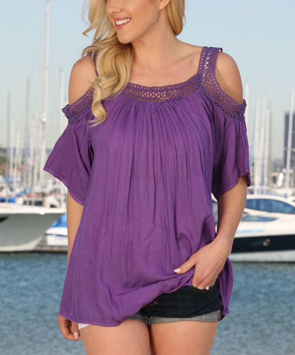 Anandaus collection purple crochet openshoulder top tops crochet
